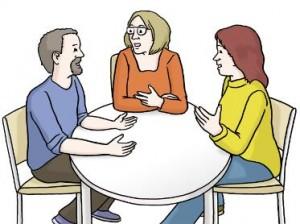Bild Menschen reden miteinander