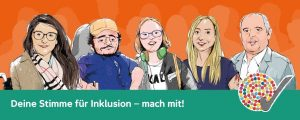 """Zeichnung von 5 Personen: """"Deine Stimme für Inklusion - mach mit!"""""""