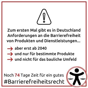 Sharepic zur Barrierefreiheit erst ab 2040 - Beschreibung im Text